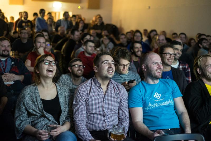 Crowd Watching Drupal Cinema Zapping at Drupal Ironcamp