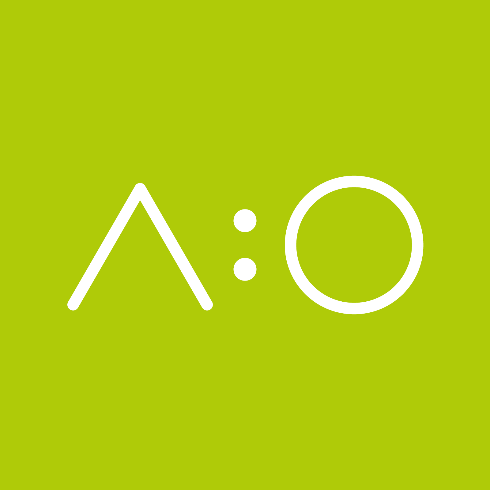white text a:o on green backbround; acolono GmbH logo